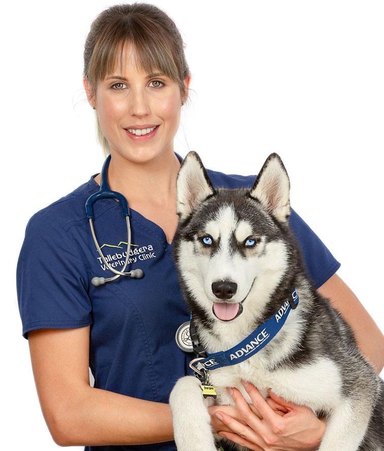 A photo of Dr Caroline Goût and her dog.