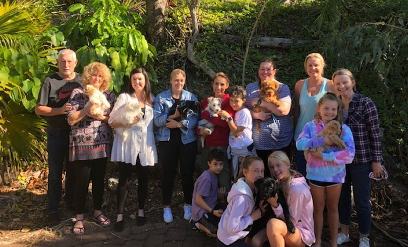 A group of people standing with their puppies after a lesson at Tallebudgera Vet puppy preschool.